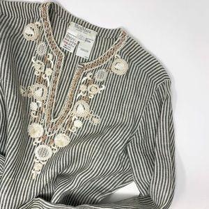 Max Mara 100% Linen Embroidered Tunic Blouse  10